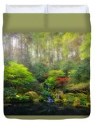 Waterfall At Lower Pond In Japanese Garden Duvet Cover
