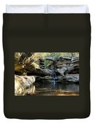 Waterfall At Old Man Cave Duvet Cover