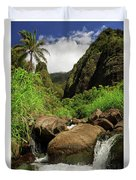 Waterfall At The Iao Needle Duvet Cover