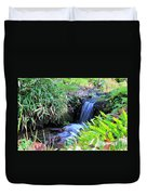Waterfall In The Fern Garden Duvet Cover