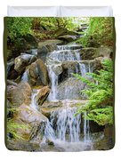 Waterfall In The Vandusen Botanical Garden 1 Duvet Cover