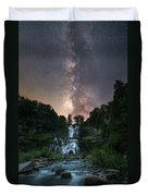 Waterfall Milky Way  Duvet Cover