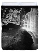 Waterfall Of The Caverns Black And White Duvet Cover