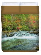 Waterfall On Little Pigeon River Smoky Mountains Duvet Cover
