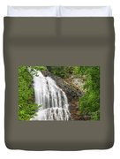Waterfall With Green Leaves Duvet Cover