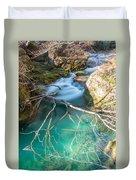 Waterfalls In The Nature Reserve Urederra Duvet Cover