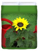 Watering With Sunflower Duvet Cover