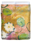 Waterlillies At Dusk Duvet Cover by Jennifer Lommers