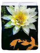 Waterlily And Koi Pond Duvet Cover