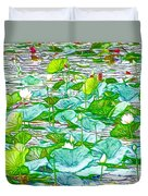 Waterlily Blossoms On The Protected Forest Lake Duvet Cover