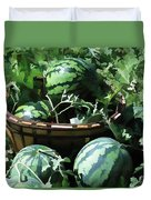 Watermelon In A Vegetable Garden Duvet Cover by Lanjee Chee