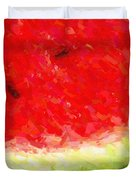 Watermelon With Three Seeds Duvet Cover by Wingsdomain Art and Photography