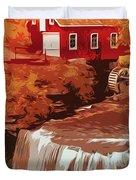 Watermill In Autumn Duvet Cover