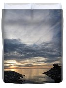Waterscape In Gray And Yellow Duvet Cover
