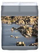 Watson Lake Adventures Duvet Cover