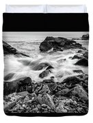 Waves Against A Rocky Shore In Bw Duvet Cover by Doug Camara