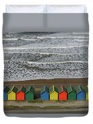 Waves And Beach Huts - Whitby Duvet Cover