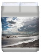 Waves Breaking Against The Beach And Cloud Streaming Above  Skegness Lincolnshire England Duvet Cover