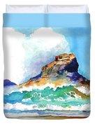 Waves Bursting On Rocks Duvet Cover