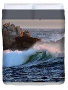 Waves Crash Against The Rocks Duvet Cover