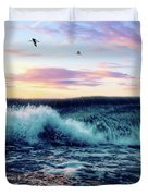Waves Crashing At Sunset Duvet Cover