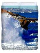 Waves Crashing On The Rocks Duvet Cover