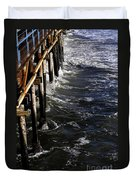 Waves Hitting Santa Monica Pier Duvet Cover