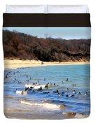 Waves Of Ducks Duvet Cover