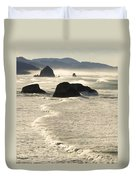 Waves Roll Ashore On The Oregon Coast Duvet Cover