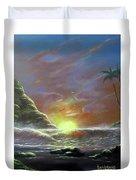 Waves Through The Sunset Duvet Cover