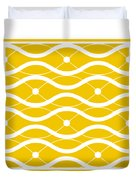 Waves With Border In Mustard Duvet Cover