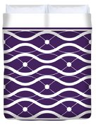 Waves With Border In Purple Duvet Cover
