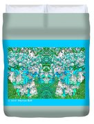 Waxleaf Privet Blooms In Aqua Hue Abstract With Aqua Frame Duvet Cover
