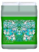 Waxleaf Privet Blooms In Aqua Hue Abstract With Green Frame Duvet Cover