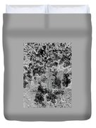 Waxleaf Privet Blooms On A Sunny Day In Black And White - Color Invert Duvet Cover