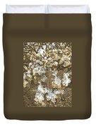 Waxleaf Privet Blooms On A Sunny Day In Sepia Tones Duvet Cover