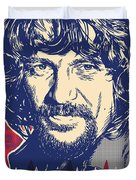Waylon Jennings Pop Art Duvet Cover