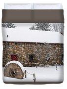 Wayside Inn Grist Mill Covered In Snow Millstone Duvet Cover