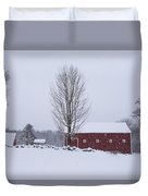 Wayside Inn Grist Mill Covered In Snow Storm 2 Duvet Cover