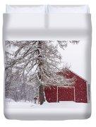 Wayside Inn Red Barn Covered In Snow Storm Reflection Duvet Cover