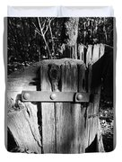 Weathered Fence In Black And White Duvet Cover