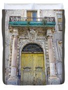 Weathered Old Artistic Door On A Building In Palermo Sicily Duvet Cover