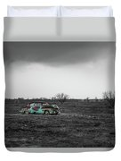 Weathered - Old Car In Texas Field Duvet Cover