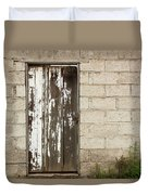 Weathered White Wood Door Duvet Cover