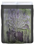 Weathered Wood And Lichen Abstract Duvet Cover