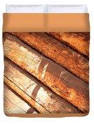 Weathered Wood Log Cabin Duvet Cover