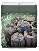 Weathered Wood Pier Posts In Lake Michigan Duvet Cover
