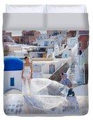 Wedding At Santorini Duvet Cover