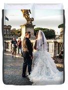 Wedding Stroll On The Ponte Sant'angelo Duvet Cover