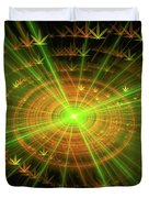 Weed Art Green And Golden Light Beams Duvet Cover